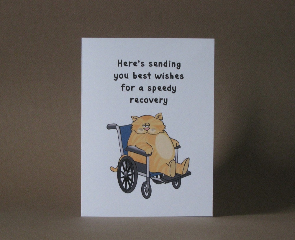 Funny Get Well Card Wishing A Speedy Recovery Funny Cat