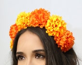 Marigold Flower Crown Cinco Mayo Costume Child Mexican Headpiece Flower Crown Birthday Party Sugar Skull Fiesta Frida Kahlo Day of the Dead