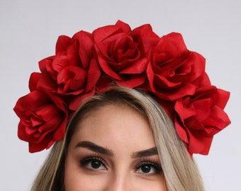 Red Rose Flower Crown Red Rose Headband Fiesta Rose Crown Mexican Wedding Bride Day of the Dead Floral Crown Frida Kahlo Red Flower Headband