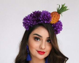 aeccc6840cd Pineapple Crown Headband Carmen Miranda Faux Fruit Headdress Rum Fruit Crown  Tiki Halloween Tropical Headpiece Hawaiian Luau Wrap
