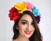 Colorful Flower Crown Cinco de Mayo Coco Costume Child Mexican Headpiece Girls Frida Flower Crow Coco Birthday Party Sugar Skull Toddler
