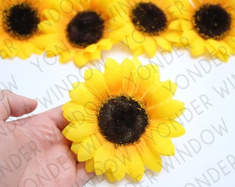 12 Small Fabric Sunflower Heads for CraftsWedding Floristry Crafts