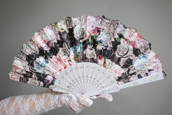 Black Hand Held Fan (Wedding Fan Bride Bridal Spanish Costume Dancer Mexico  Bridesmaids Burlesque Hippie Wedding Hand Fan Favor) C160