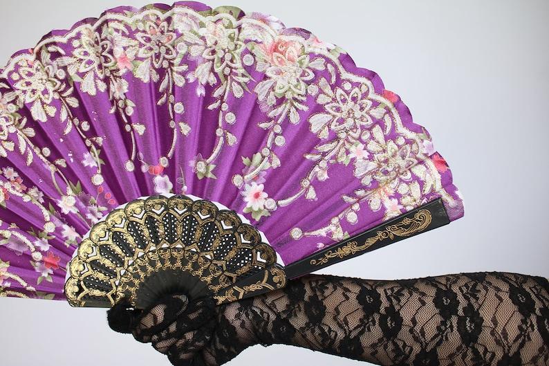 Wedding Fan Bride Bridal Spanish Costume Performer Dancer Bridesmaids Burlesque Victorian Hand Fan Favor C114 Satin Like Hand Held Fan