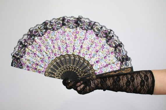 Floral Hand Held Fan (Wedding Fan Bride Bridal Spanish Costume Performer  Dancer Bridesmaids Burlesque Victorian Party Favors Favor) B806