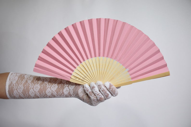 Pink Paper Hand Held Fan (Spanish Wedding Fan Bride Bridal Accessory  Performer Dancer Bridesmaids Burlesque Hippie Wedding Hand Fan Favor)