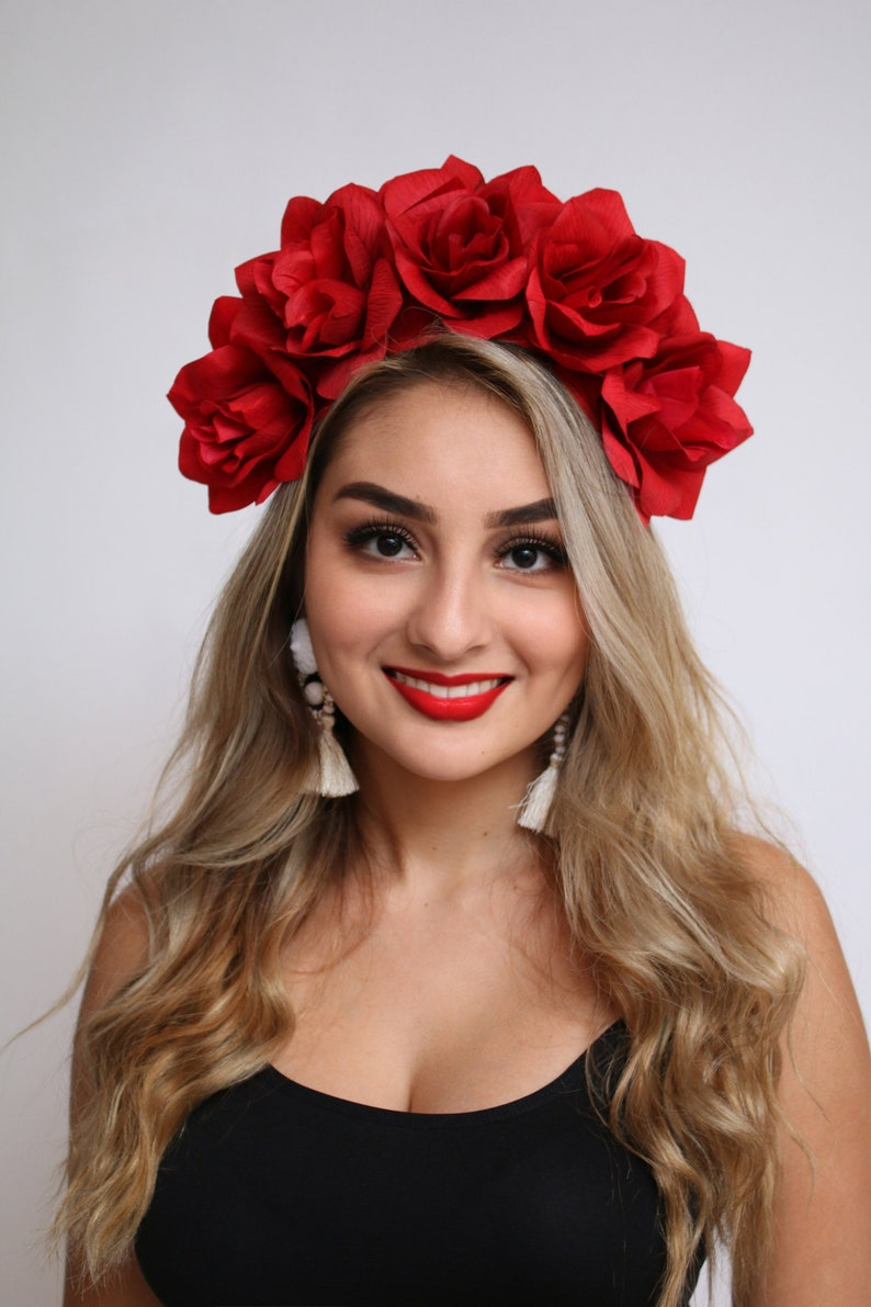 Red Rose Flower Crown Red Rose Headband Fiesta Rose Crown image 0