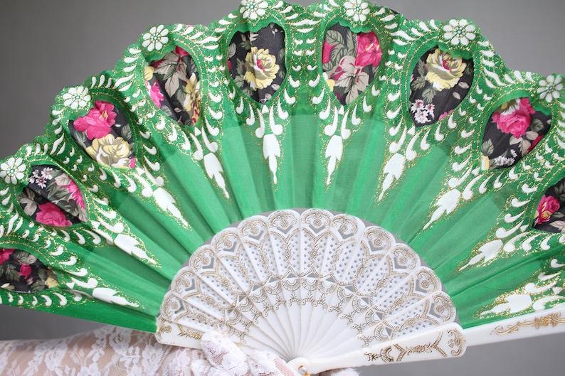 858 Green Hand Held Fan Wedding Fan Bride Bridal Bridesmaids Burlesque Victorian Renaissance Fair Southern Bell Stained Glass Gala Ball