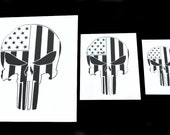 3 PACK American Flag Punisher Skull Airbrush Painting Truck Camo Stencil Set