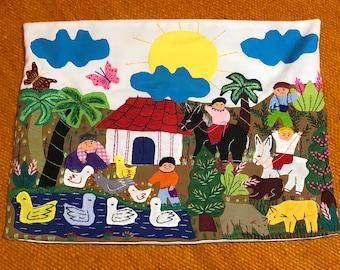 L= 40cm W= 31cm IA=30cm Handmade Peruvian arpillera childskids sweatercardigan with embroideryapplique work Size 34 Years