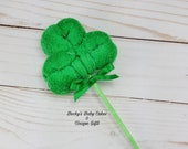 Washcloth Shamrock, St Patricks Baby Shower, Little Lucky Charm Baby Shower, Little Shamrock, Irish Baby Shower Gift, Party Favor, Green