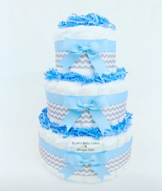 Baby Boy Shower Centerpiece Blue And Gray Diaper Cake Diaper Etsy