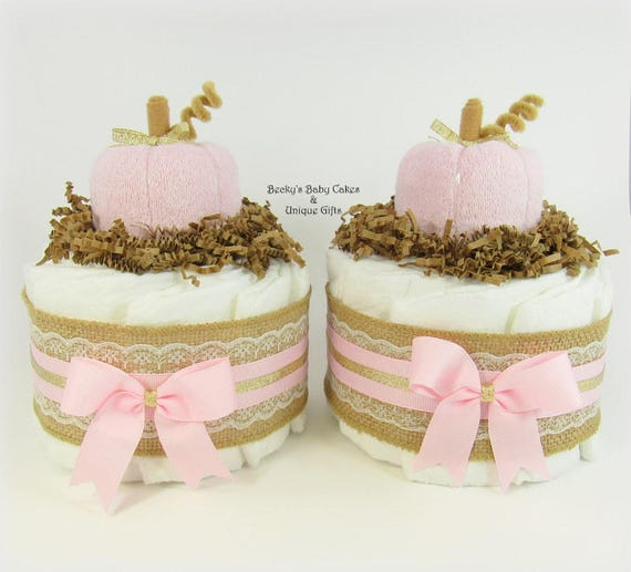 Pink Pumpkin Baby Shower Mini Diaper Cake Fall Baby Shower Etsy