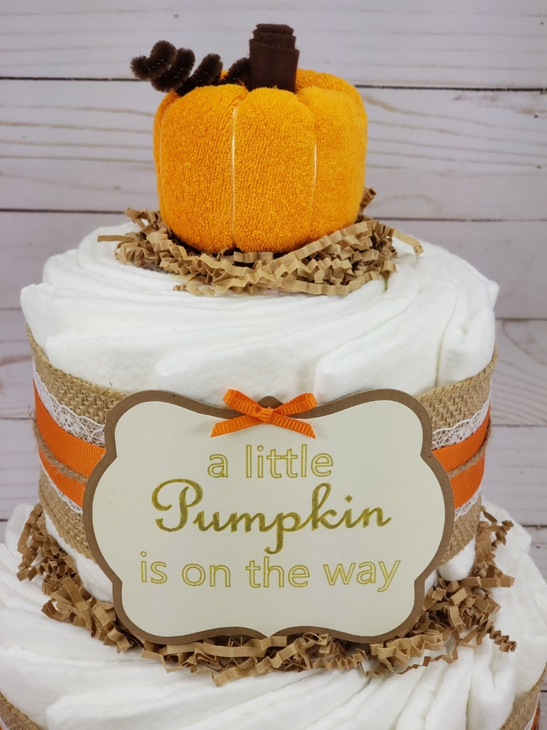 Harvest Baby Shower 2 Tier Pumkin Diaper Cake Fall Baby Shower Decoration Fall Baby Shower Gift Autumn Baby Little Pumpkin Baby Shower