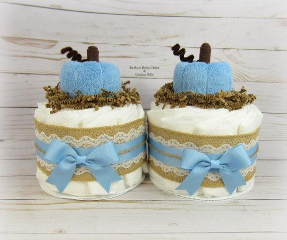 Blue Pumpkin Baby Shower Mini Diaper Cake Fall Baby Shower Etsy