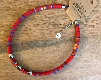 Boho Fabric Cord Choker Necklace - Red with Multicolor Stripes, 3 Sliding Beads