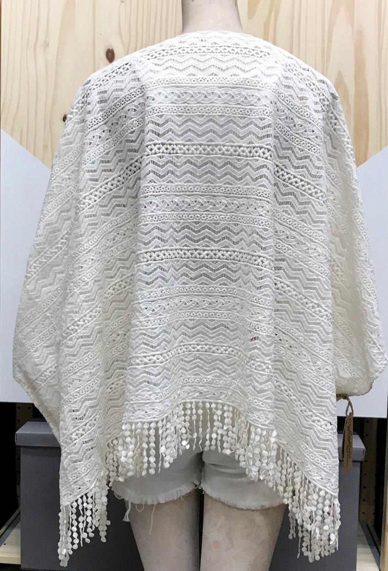 REDUCED! Cream Crochet Lace with Bubble Fringe Kimono Jacket