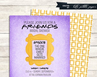 FRIENDS TV Show Shower Invitation Bridal Birthday Party Baby Tv Theme