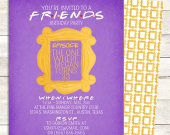 friends tv show invitation friends party birthday party etsy