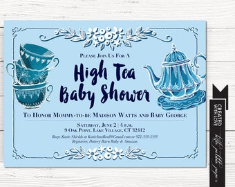 Tea Party Shower Invitation, Baby Boy Tea Party Shower, High Tea Baby Shower, Blue Tea Party Invitation, Bridal Shower Invitation, Madhatter