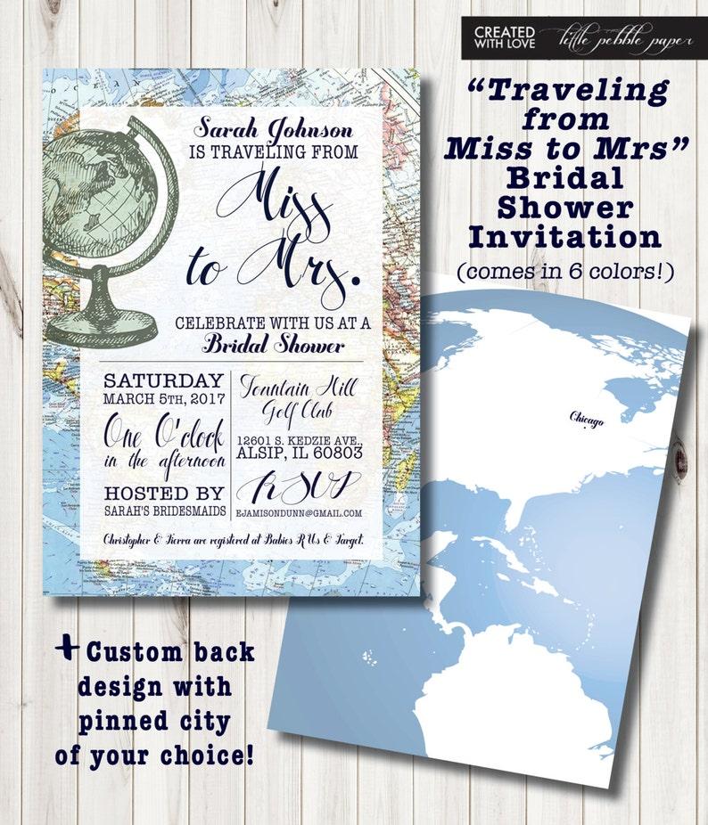 43f94edc8403 Travel Themed Bridal Shower Invitation Around the World