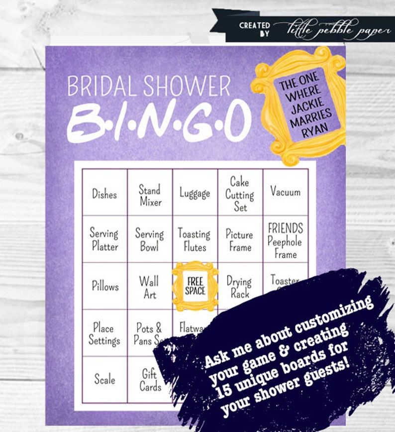 FRIENDS TV Show Bingo Shower Game, Bridal Shower Bingo, Baby Shower Bingo  Game, FRIENDS Theme, Shower Games
