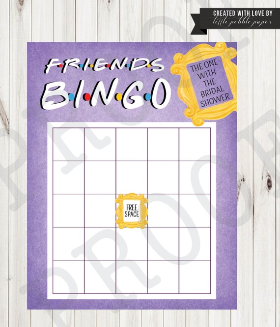Friends Tv Show Bingo Shower Game Bridal Shower Bingo Baby Etsy