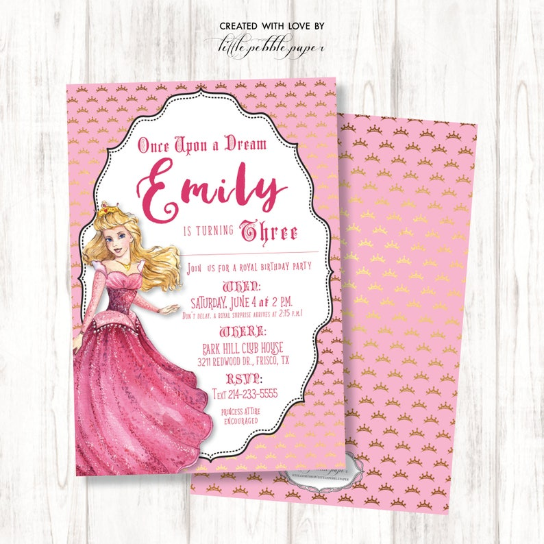 Princess Aurora Invitation Disney Princess Invitation image 0
