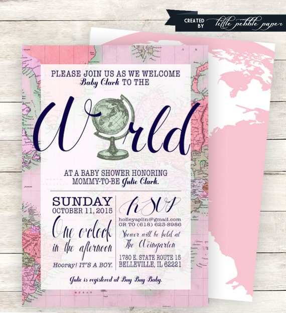 Pink welcome to the world baby shower invitation printable etsy filmwisefo