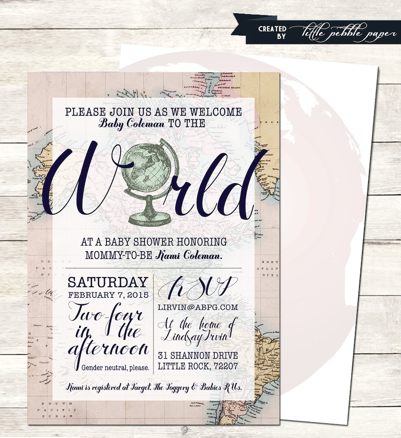 Welcome To The World Baby Shower Invitation Printable Girl Gender Neutral Travel Globe Map Theme Around