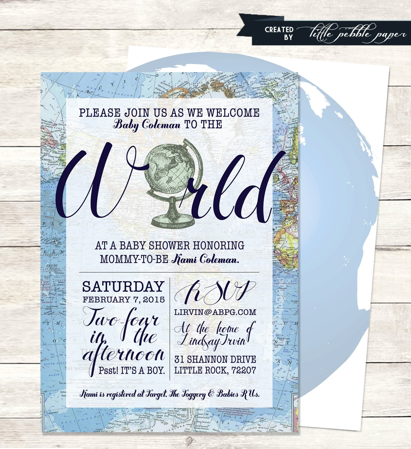 Blue Welcome To The World Baby Shower Invitation Printable Etsy
