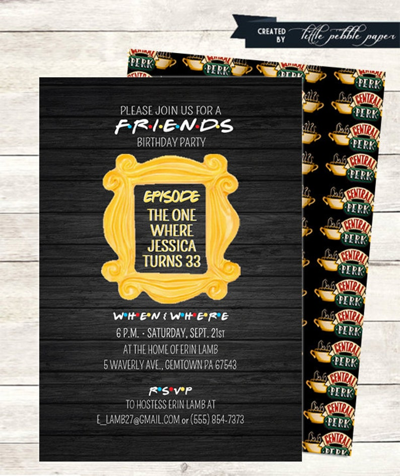 FRIENDS TV Show Invitation Friends Party Birthday
