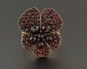 Garnet Flower Ring 14k Gold Ring Pin Conversion Antique Garnet Flower Ring