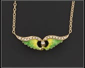 14k Gold Winged Necklace Antique Pin Conversion Necklace 14k Gold Enamel Wings Necklace Winged Necklace