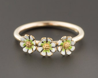 87ce9519a Daisy Ring | 14k Gold Stacking Ring | Antique Pin Conversion | Enamel Daisy  Ring