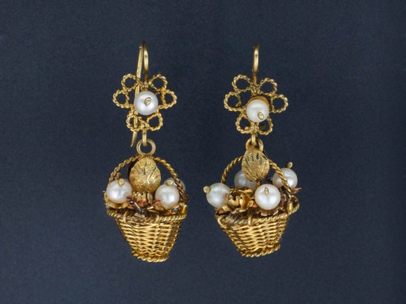 Vintage Flower Basket Earrings | 10k Gold Earrings