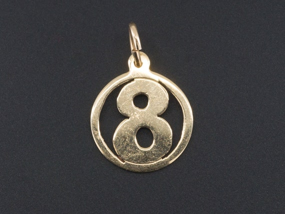 Lucky Number 8 Charm   14k Gold Number 8 Charm   1