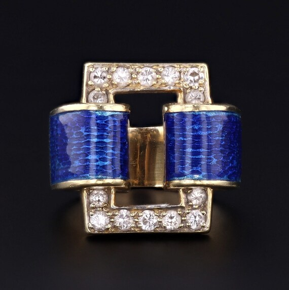 Retro Blue Enamel & Diamond Ring | 14k Gold Ring |