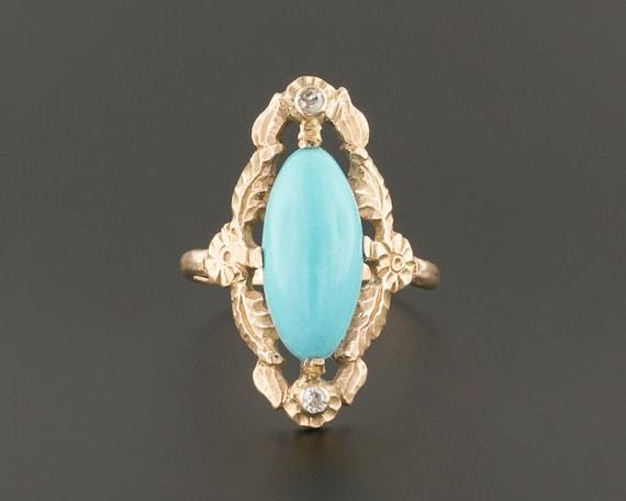 Turquoise & Diamond Ring | 10k Gold Turquoise Ring