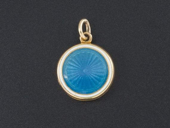 Antique Locket   Blue Enamel Locket   14k Gold Loc