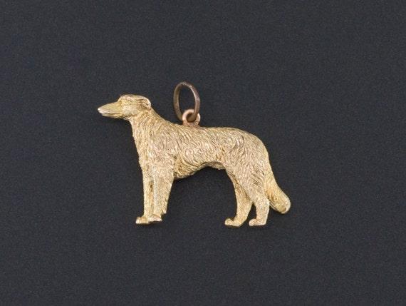 Borzoi Dog Charm   14k Gold Charm   Dog Lover Char
