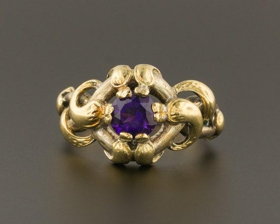 Snake Ring | Amethyst Snake Ring | 14k Gold Ring |