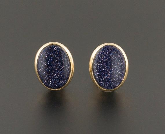 14k Blue Goldstone Earrings | 14k Gold Earrings |