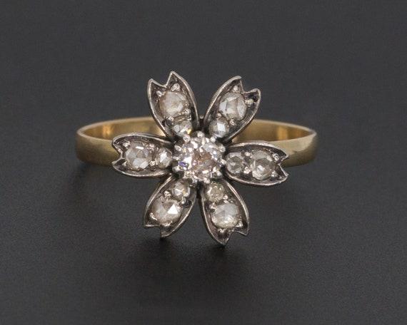 Diamond Flower Ring | Antique Flower Ring | Pin Co