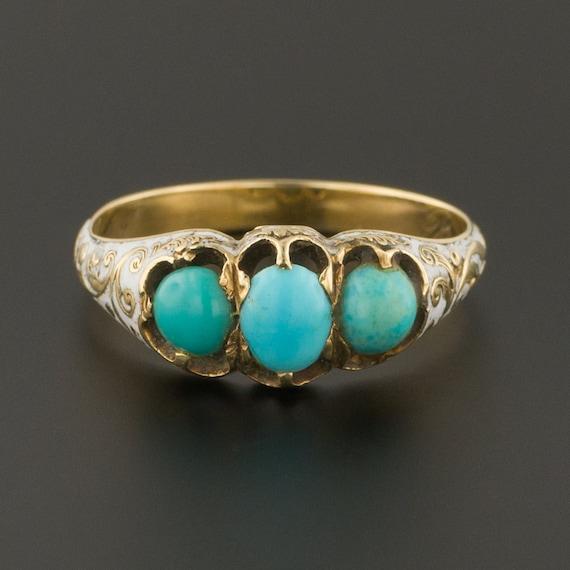 Antique Turquoise Ring | Turquoise & Enamel Ring |