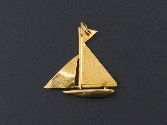 Sailboat Charm | 9ct Gold Charm | Vintage Gold Cha