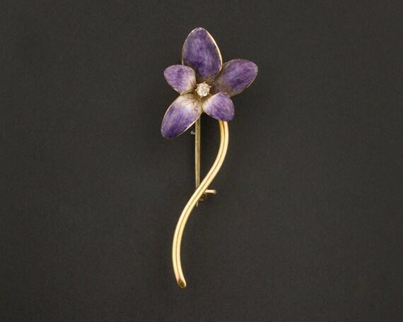 Antique Violet Brooch | Antique Enamel Violet Broo