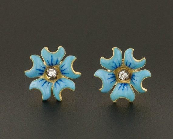 Enamel Flower Earrings | 14k Gold Earrings | Diamo