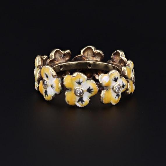 Pansy Ring   Enamel Flower Ring   14k Gold Ring  … - image 2