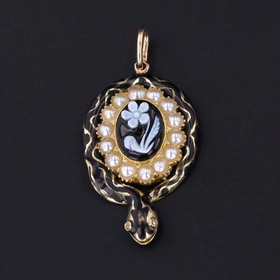 Antique Snake Pendant | Victorian Mourning Pendant
